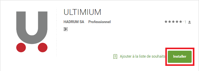 Bouton d'installation de l'application ULTIMIUM